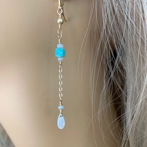 NEW, HANDCRAFTED BY ME Jewelry - Christmas Gift Moonstone & Turquoise Earrings